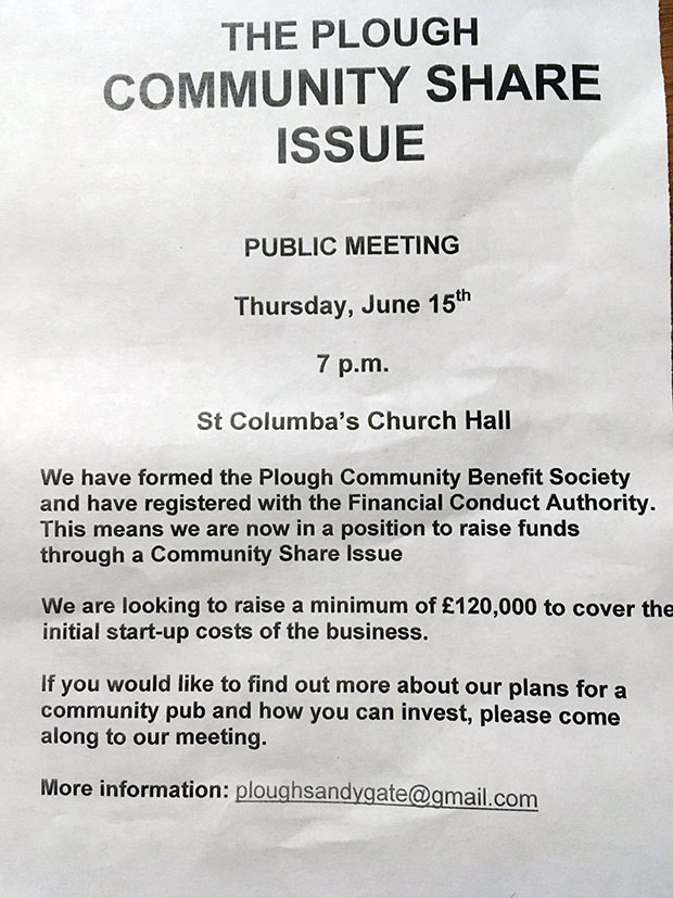Meeting to discuss Plough community share issue on Thursday 15 June