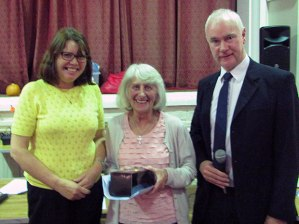 Sheila Lomas is presented with the 2017 Crosspool Person of the Year award