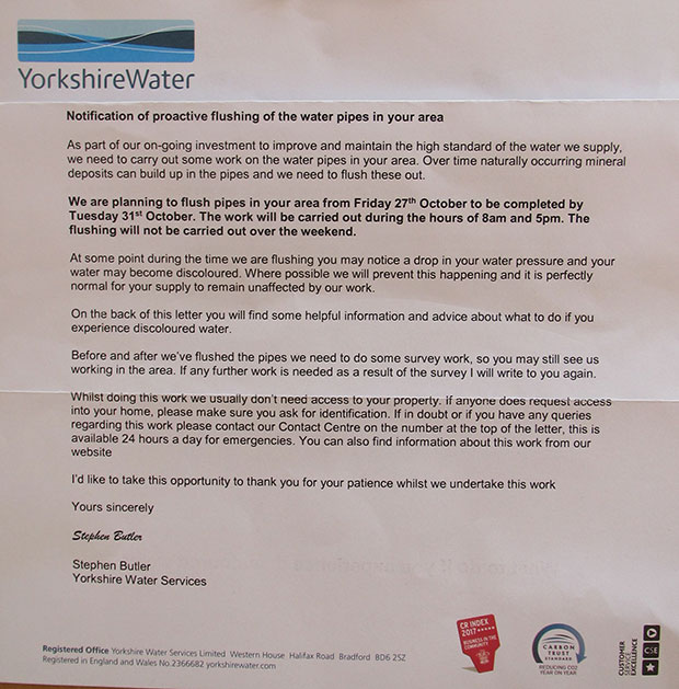 Yorkshire Water letter