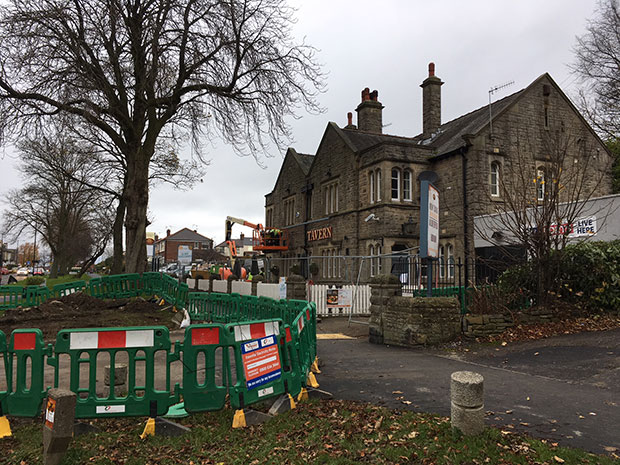 The Crosspool Tavern sign comes down