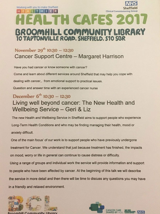 Health cafes at Broomhill Library on 29 November and 6 December