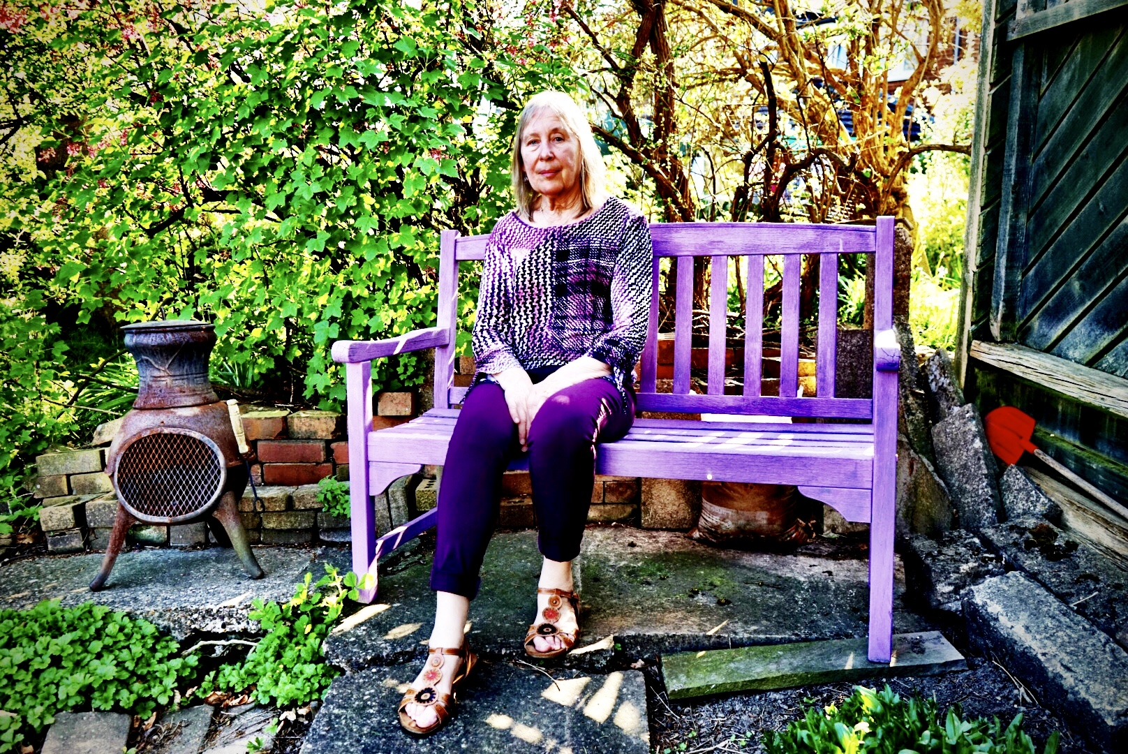 A moment to relax, in green and purple